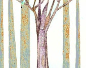 """This abstract Purple Tree in a forest of gray...""""green apples"""""""
