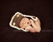 Pilot Aviator Hat Newborn, Baby hat Photo prop in BROWN, Photography Babies Hat, Gift Photo shoot Hat, GIFT all Babies Hat, Newborn Baby HAT