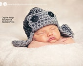 AVIATOR Hat Newborn Baby Photo prop in Gray, Pilot Hat Baby, Photography Hat Newborn, Baby Hat, Bomber Hat, Flyer Hat, Gift Hat New Baby Hat