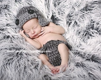 Set AVIATOR Hat and diaper cover  Newborn Photo prop in Gray Grey Photography Beabie Hat Infant Girl Boy Photo shoot MORE COLORS