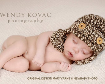 Lumberjack Hat Newborn Baby Photo prop in BROWNS - Photography Baby Hat