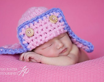 Aviator Pilot Hat Newborn Photo prop in PINK and ORCHID Photography Flyer Bomber Baby Hat Infant Girl Photo Shoot The Perfect Gift Newborns