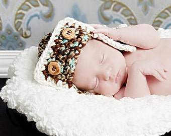 Flyer Hat Newborn Baby Photo prop in Brown Blue Photography Pilot Hat Infant girl boy Photo shoot Babies Perfect Gift Newborns New Baby