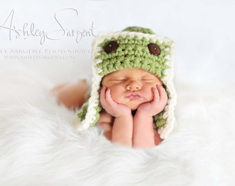 Green AVIATOR Hat Newborn Baby Photo prop Photography Flyer Bomber Hat Newborns Photography all Babies The perfect Gift New Baby Girl Boy