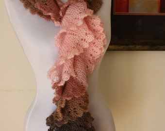 Free shipping! Knitted Ruffled Mohair Scarf, Pink  / Brown