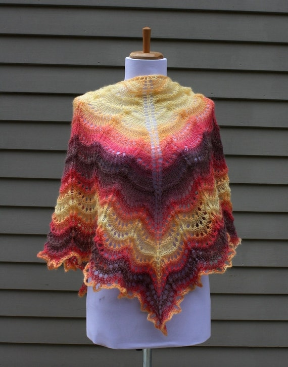 Knitted Lace Shawl, Tiangular, Red, Yellow, Brown,  Waves  Pattern