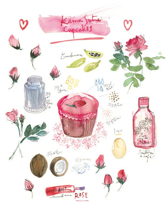 Valentine print Kama Sutra Cupcake Recipe Kitchen art Love Watercolor food illustration 8x10 Bakery poster Pink