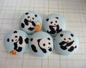 5 Kawaii Panda blue handmade fabric covered buttons 7/8 inches