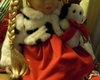 Porcelian Doll with Blond Hair And Velvet Dress 16""