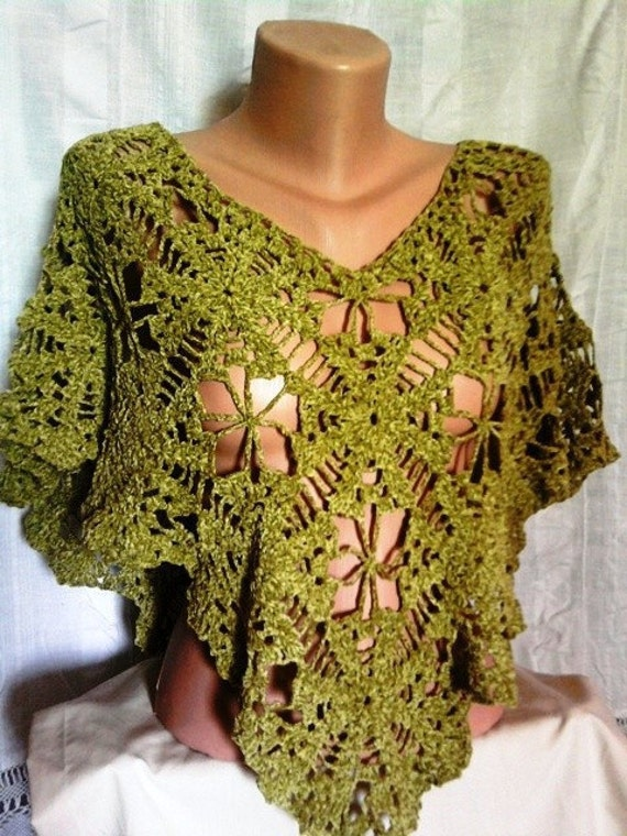 Hand Crochet Green Poncho Spring Summer Fall Winter Women Clothing Accessory