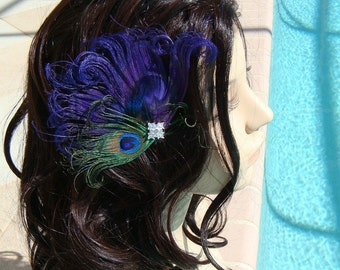 Rhinestone peacock wedding hair clip / peacock feather clip / bridal peacock hair pin / purple peacock green blue peacock fascinator