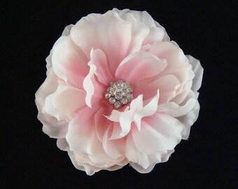 Pink Wedding Peony with rhinestone centerpiece / bridal pink hair flower or sash flower hair clip or brooch pin bridal flower