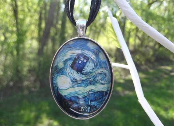 Starry Night TARDIS necklace Doctor Who Van Gogh silver 30x40 mm