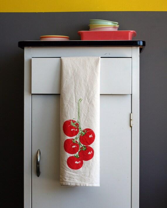 Natural Flour Sack Towel - Tomato Vine - Hand Screen Printed