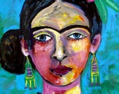 Frida Kahlo Art Poster Print of painting by Heather Galler Art of Painting - Mexican Folk Art (HG458)