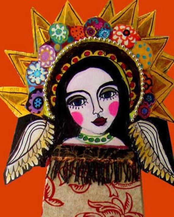 50% Off - Virgin Of Guadalupe Mexican Folk art Art Print Poster by Heather Galler (HG880)