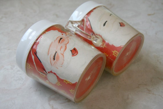 Christmas Santa Clause cups mugs Vintage retro decor red white set of 2 very kitsch Black Friday Etsy Cyber Monday