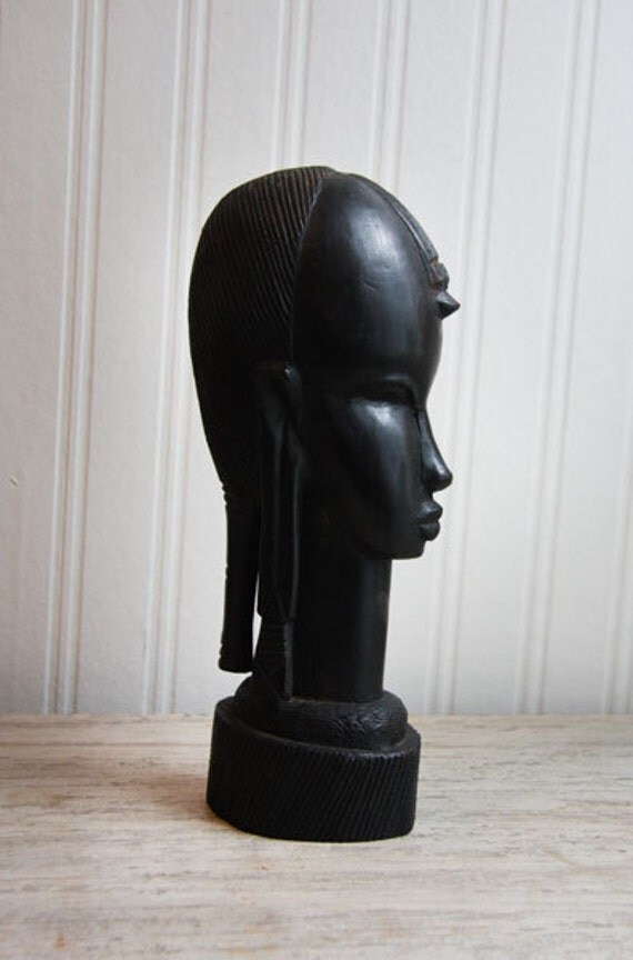 Ebony Wood African Bust African Carved Wood Tribal By