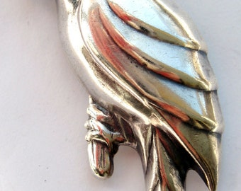 Vintage STERLING SILVER Parrot Bird On Branch Pin Brooch 925