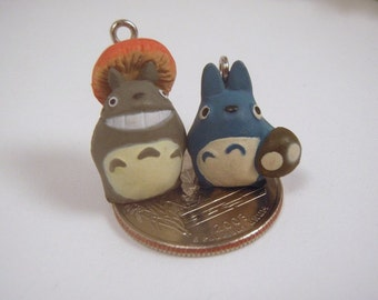 Super tiny Blue Totoro With Mushroom Charm Discontinued VERY Limited Stock Miniature