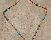 SALE-20percent off was 84.00 now 67.20 Carnivale Necklace- 14kt Goldfilled Wire Wrapped Turquoise Coral Jade Bone