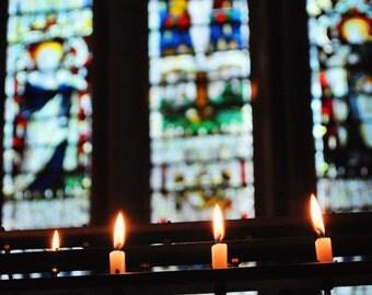St Patricks Day, March, Dublin, Ireland, St. Patrick's, Candles, Stained Glass, Catholic, Religion, Margaret Dukeman, Fine Art Photography