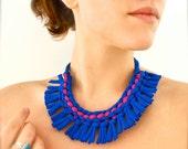 tribal statement necklace - blue magenta fringe upcycled fabric jewelry