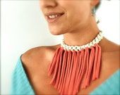 Bib Statement Necklace - Tangerine and Gold - Fabric Jewelry - Coral Fringe