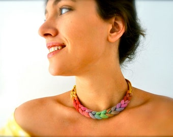 Ombre Rainbow Statement Necklace - choker recycled fabric jewelry