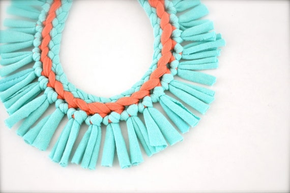 Turquoise Coral Statement Necklace - Pastel Tribal Upcycled Fabric Jewelry Fringe