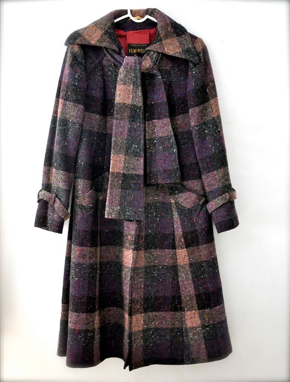 Vintage wool coat - womens jacket - black plaid purple
