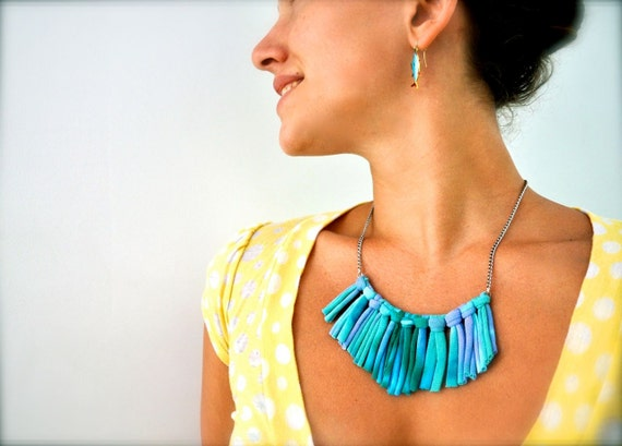 Turquoise Statement Necklace - upcycled Ombre Blue - Fabric Jewelry