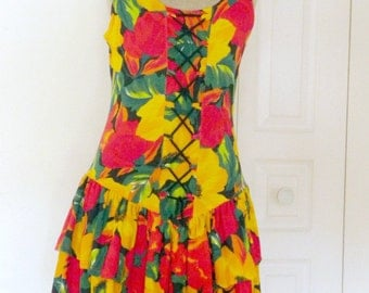 Vintage 1980s Red and Yellow Poppies Dress / Small to Medium