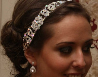 Antoinette - Silver AB Crystals Rhinestones Headpiece with a Vintage Flair