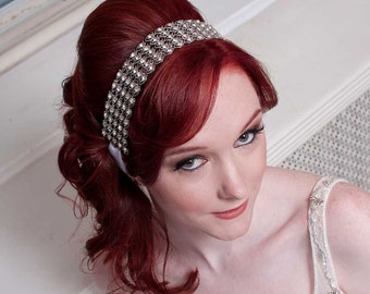 Leila - Sophisticated Silver Crystal Ribbon Headband