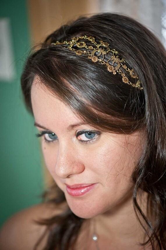 Iriana - Vintage style Jeweled Ribbon Headband - Gold