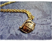 Gold Honey Pot Necklace - Antique Gold Pewter Honey Pot Charm on a Delicate Gold Plated Cable Chain or Charm Only