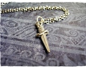 Tiny Silver Dagger Necklace - Antique Pewter Dagger Charm on a Delicate 18 Inch Silver Plated Cable Chain