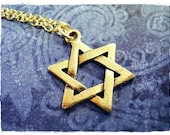 Gold Star of David Necklace - Antique Gold Pewter Star of David Charm on a Delicate Gold Plated Cable Chain or Charm Only