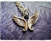 Silver Angel Wings Necklace - Antique Pewter Angel Wings Charm on a Delicate Silver Plated Cable Chain or Charm Only