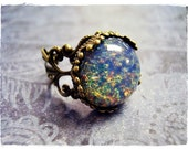 Round Blue Opal Glass Cabochon Ring - Ornate Antique Brass Filigree Band