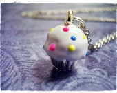 Vanilla Cupcake Necklace - White Enameled Vanilla Cupcake Charm on a Delicate 18 Inch Silver Plated Cable Chain