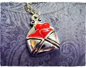 Red Love Letter Necklace - Red Enameled Silver Pewter Love Letter Charm on a Delicate 18 Inch Silver Plated Cable Chain