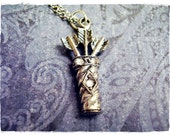 Tiny Quiver of Arrows Charm Necklace in Crystal Studded Antique Pewter with a Delicate 18 Inch Silver Plated Cable Chain