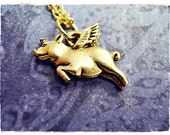 Gold Flying Pig Necklace - Antique Gold Pewter Flying Pig Charm on a Delicate Gold Plated Cable Chain or Charm Only