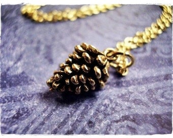 Gold Pine Cone Necklace - Antique Gold Pewter Pine Cone Charm on a Delicate Gold Plated Cable Chain or Charm Only