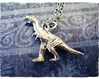 Silver Tyrannosaurus Necklace - Antique Pewter Tyrannosaurus Dinosaur Charm on a Delicate Silver Plated Cable Chain or Charm Only