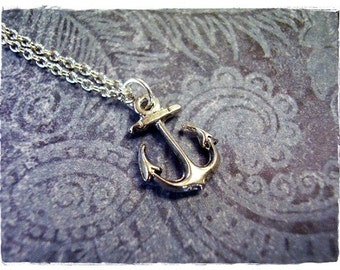 Tiny Silver Anchor Necklace - Antique Pewter Anchor Charm on a Delicate Silver Plated Cable Chain or Charm Only