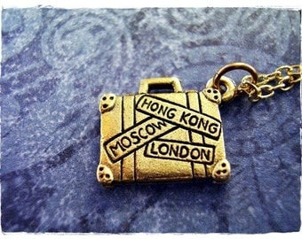 Gold Suitcase Necklace - Antique Gold Pewter Suitcase Charm on a Delicate Gold Plated Cable Chain or Charm Only