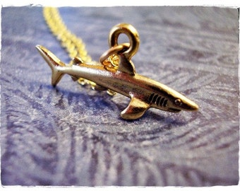 Gold Shark Necklace - Antique Gold Pewter Shark Charm on a Delicate Gold Plated Cable Chain or Charm Only
